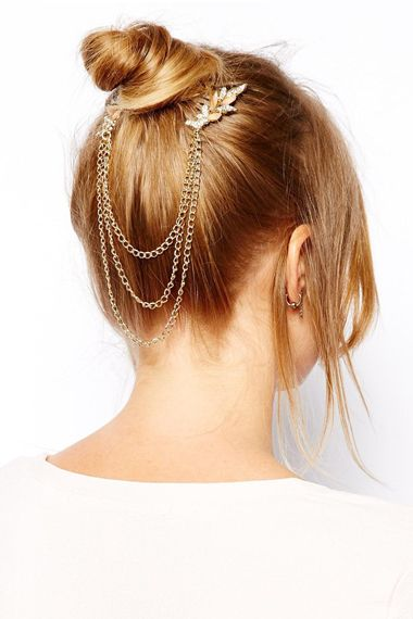 Leave-Shaped Gold Hair Accessory