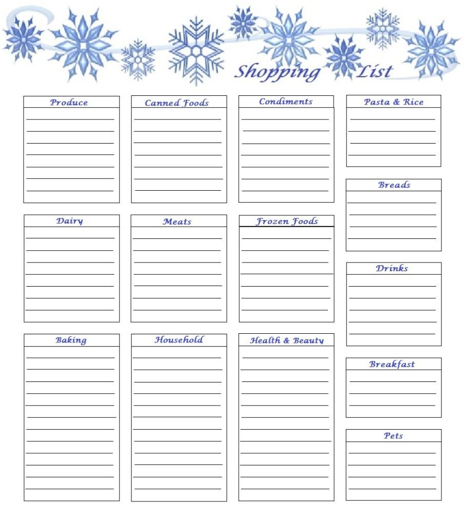 Free Printable Monthly Shopping Lists These Are Really Cute And
