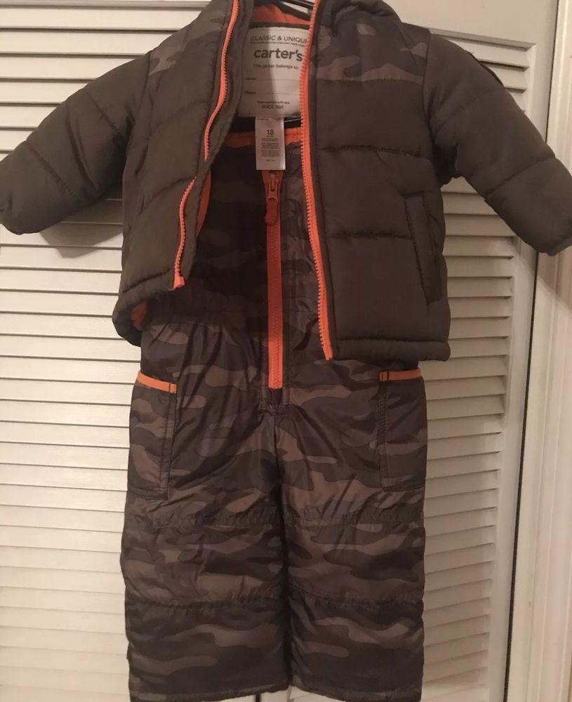 03e352752 CARTERS Boys Winter Coat Jacket And Snow PantS Hood Camo Size 18 ...