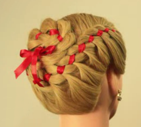 Side Braid With Red Ribbon Coiled Into Bun Ribbon Hairstyle Hair Design For Wedding Wedding Hair Inspiration
