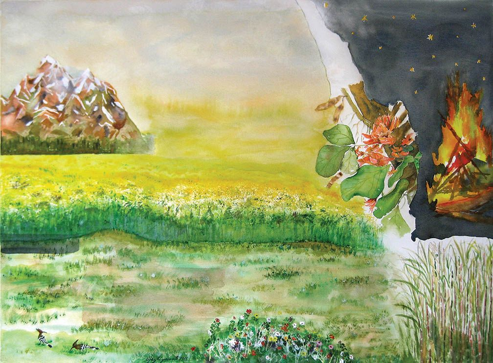 In this painting of Shishir Ritu (the winter season
