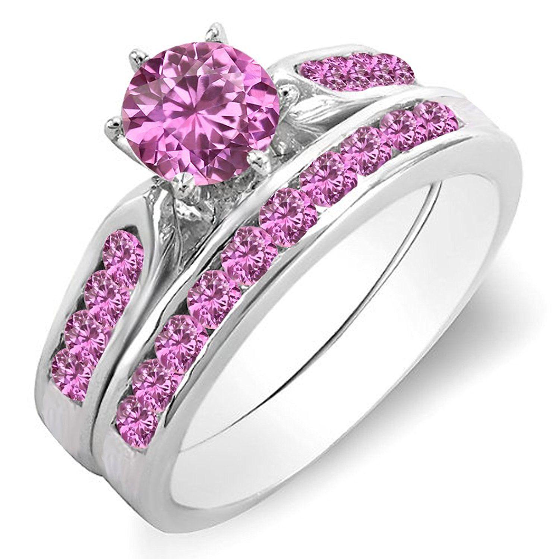 1 00 Carat ctw 14K Gold Round Pink Sapphire La s Bridal