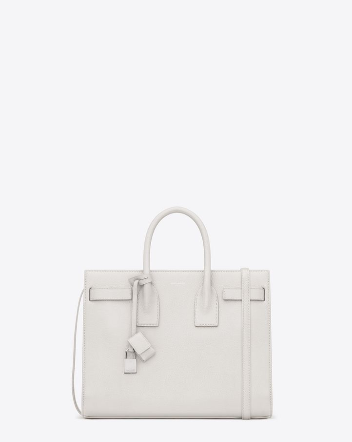 5185b91529 Saint Laurent Sac De Jour, Small, Dove White Grained Leather, $2,890 ...