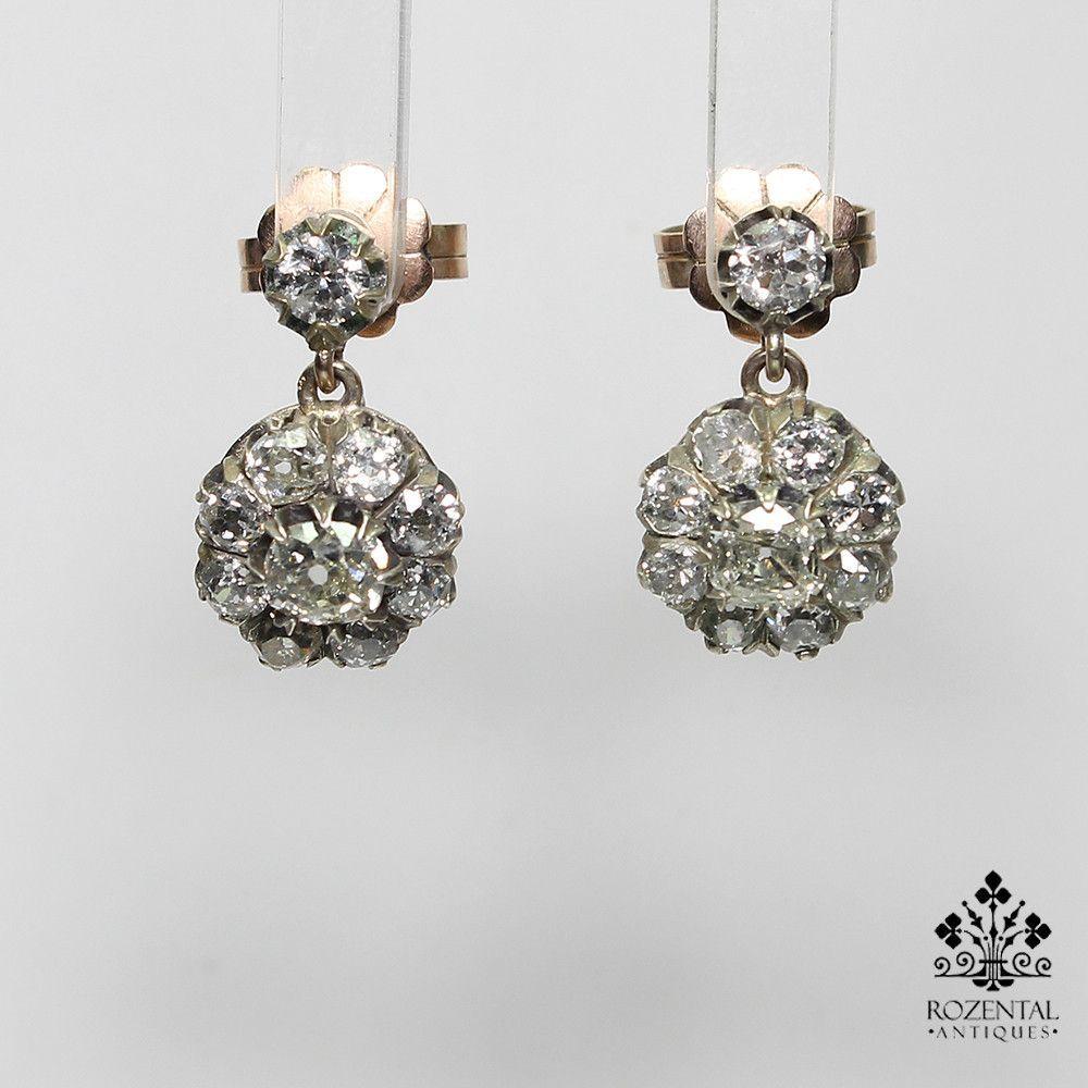 Antique Victorian 18K Gold 2.8ct. Diamond Earrings