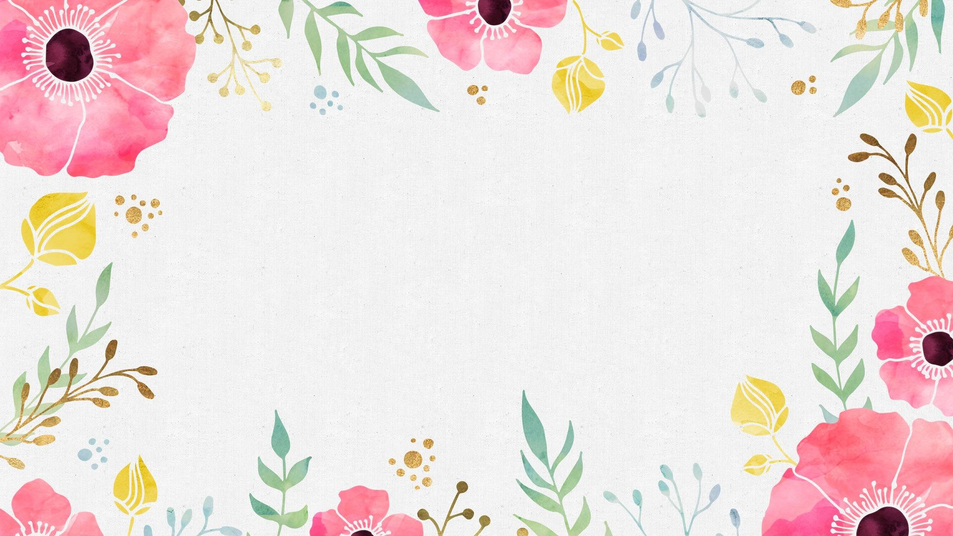 Watercolor Flowers. Desktop Wallpaper
