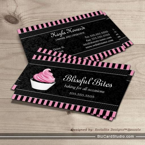 Elegant cupcake bakery business cards bakery business cards elegant cupcake bakery business cards wajeb Images
