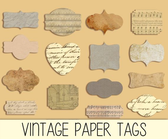 Old paper textured Digital Labels - Borders - Frames - Vignettes - PNG and JPG format - Scrapbooking, Photo Cards