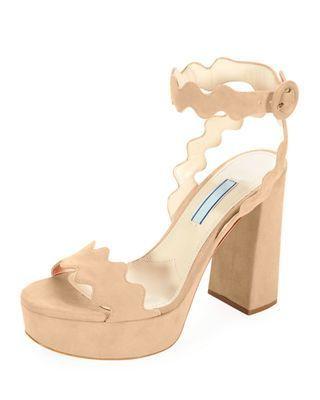 prada scalloped suede platform sandal