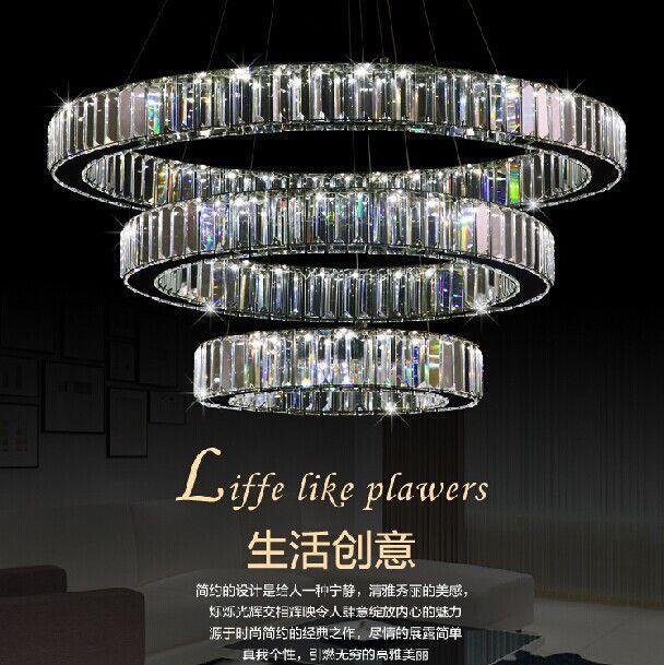 luxe 3 anneaux moderne lustre en cristal avec de luxe de la t l commande led cristal lampe pour. Black Bedroom Furniture Sets. Home Design Ideas