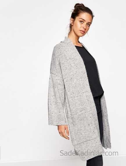 Koton 2019 2020 Sonbahar Kis Koleksiyonu Kazak Ve Hirka Modelleri Gri Hirka Duz Sal Yaka Onden Cepli Rahat Kesim Hirkalar Kazak Elbise Gri