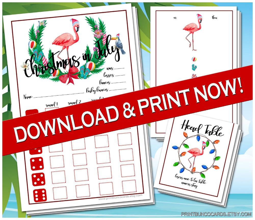 Printable Christmas In July Bunco Cards Bunko Scorecards Score Etsy Christmas In July Christmas Printables Bunco