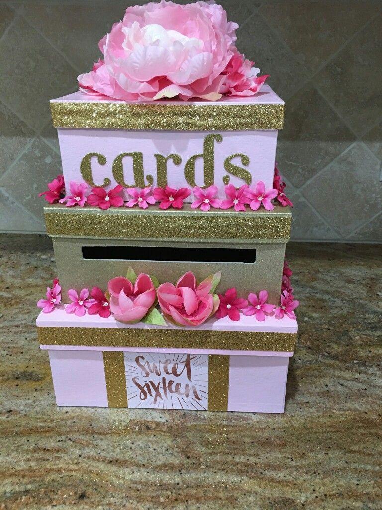 Sweet 16 Card Box Flowers Glitter Graduation Open House In 2018