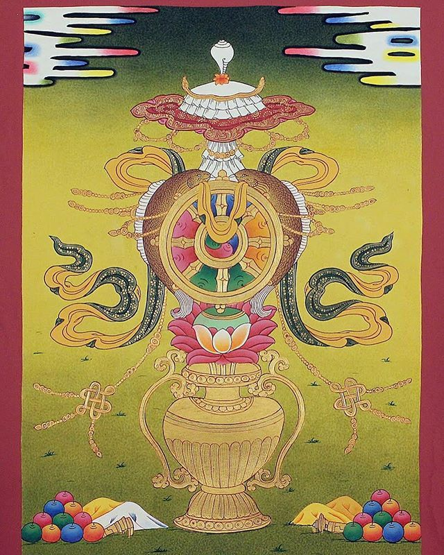 Our Beautiful Thangka Which Shows The 8 Auspicious Symbol Buddhism