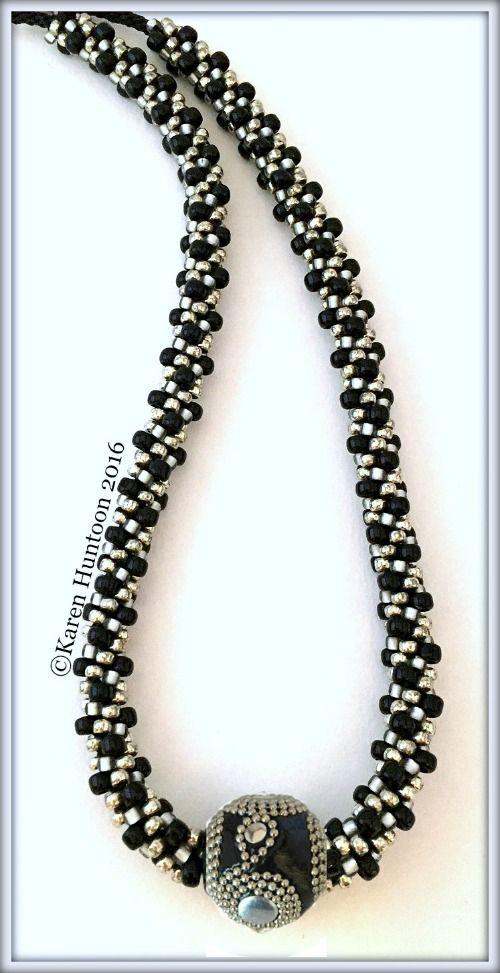 Kumihimo Beaded Necklace with Fancy Focal Bead, Beaded Kumihimo ...