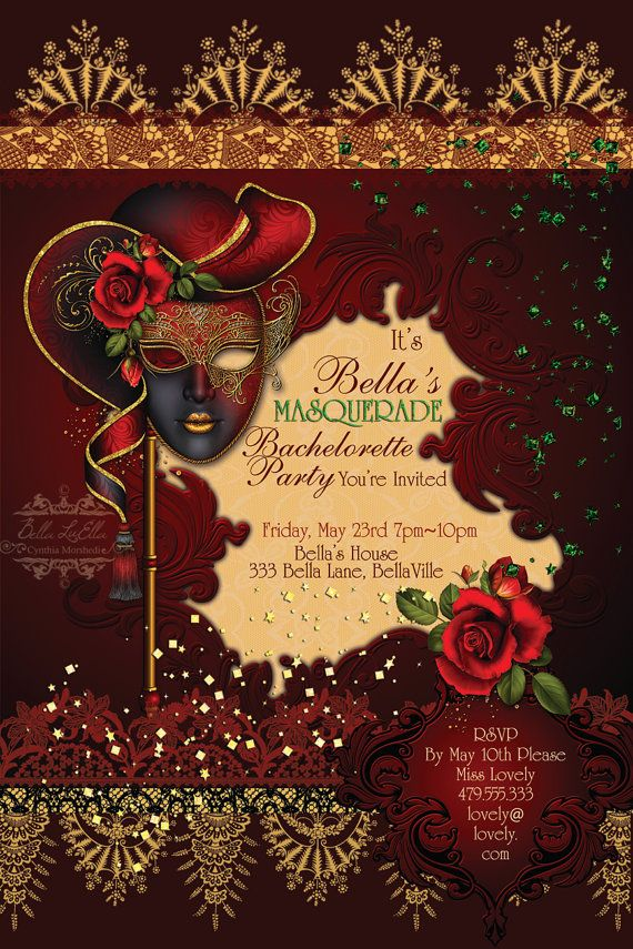 exquisite masquerade bachelorette party invitation by bellaluella on etsy 1000