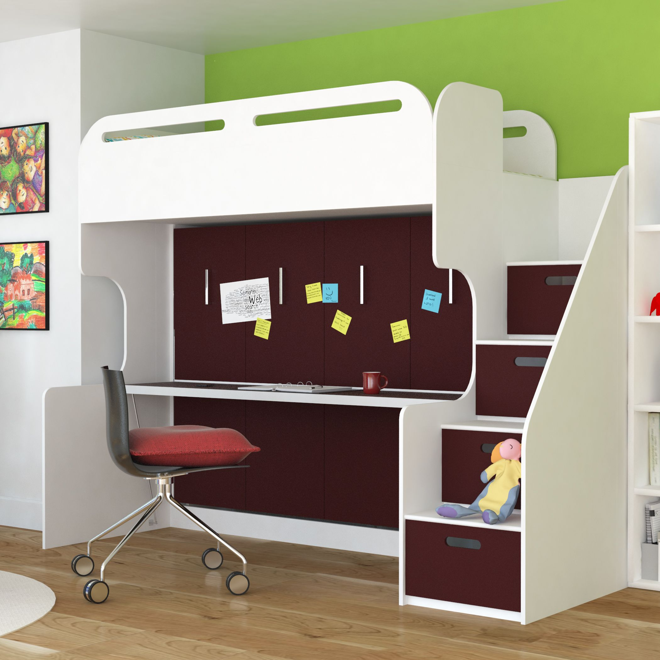 Abner Bunk Bed With Wall And Desk Burgandy Urban