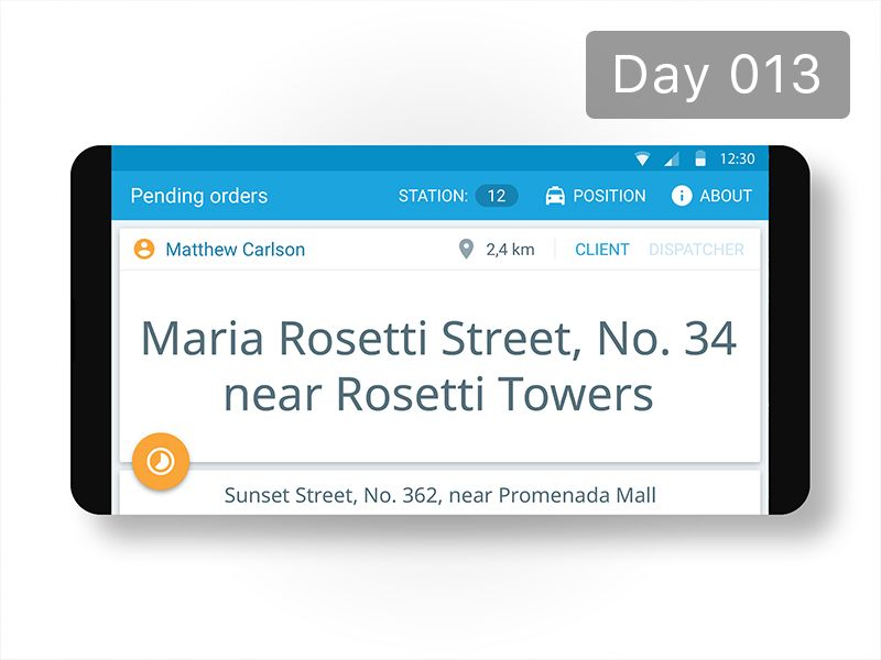 Day 013 - Taxi Order