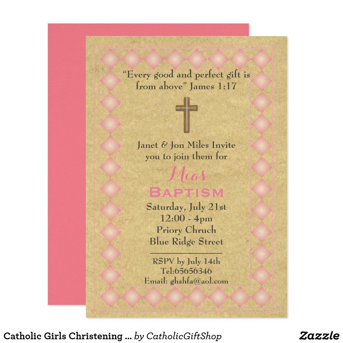 Catholic Girls Christening Invitations Bible Verse