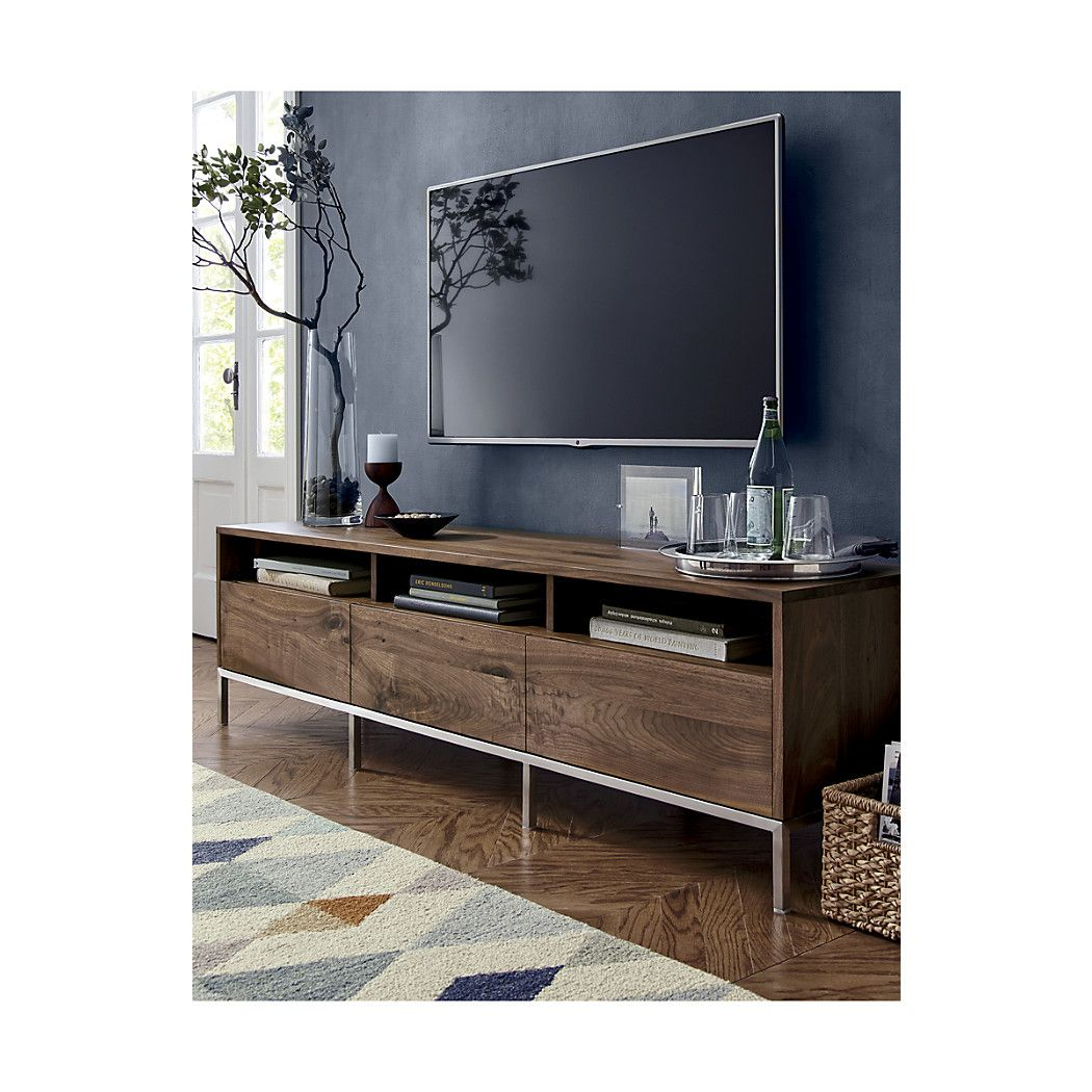Pearson 72 Media Console Divided Open Shelf Below Can Be Used To Stow Electronic Equipment With Three Drawers Side By For Closed Storage