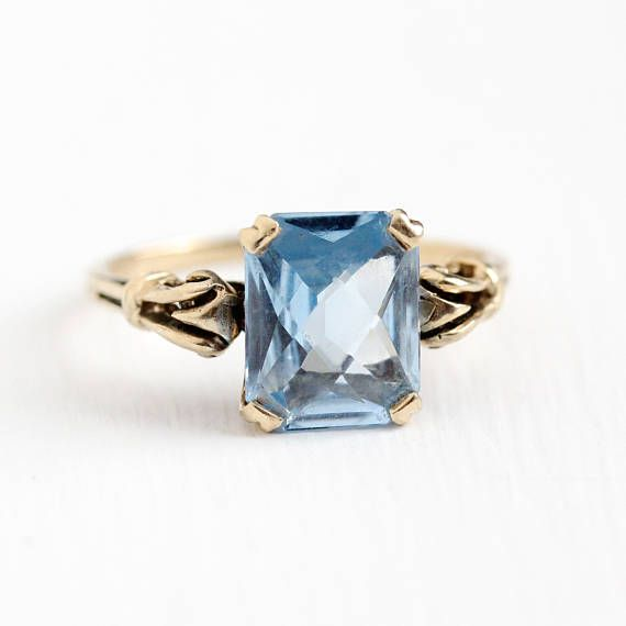 Vintage 10k Rosy Yellow Gold Created Blue Spinel Ring Retro 1950s Size 7 1 4 Rectangula Fine Antique Jewelry Antique Rings Vintage White Gold Aquamarine Ring