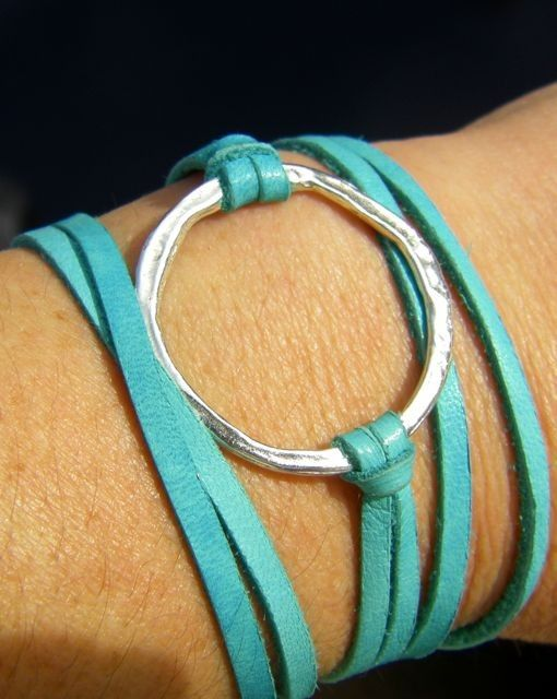 Leather Wrap Bracelet Sterling Silver And Turquoise Leather Cord