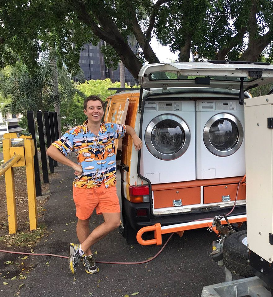 free laundry for the homeless using mobile laundromat 20 years