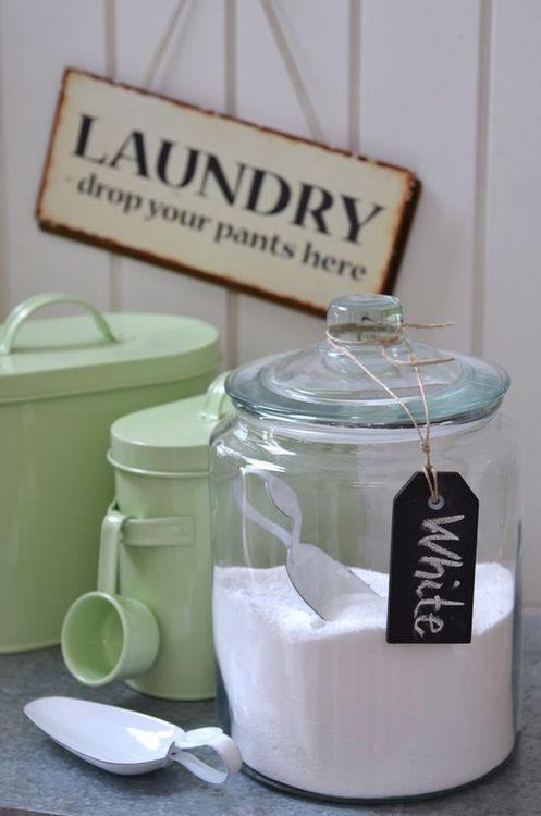 ℒ a u n d r y . D a y - lovely green tin jars with scoops!