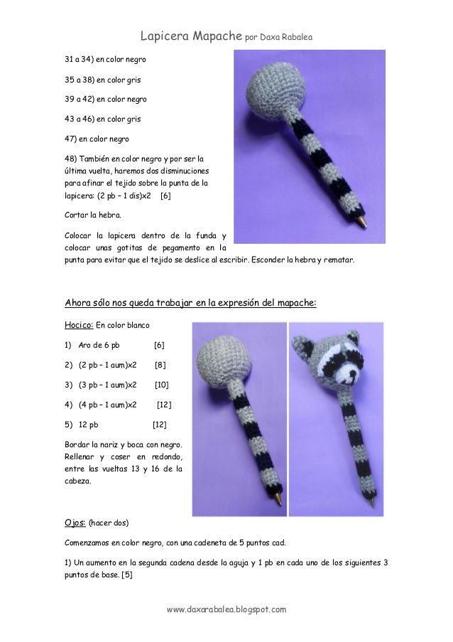 patron cubre Lapicera mapache amigurumi | crochet toys | Pinterest ...