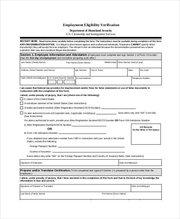 Employment Verification Form template Pinterest Template