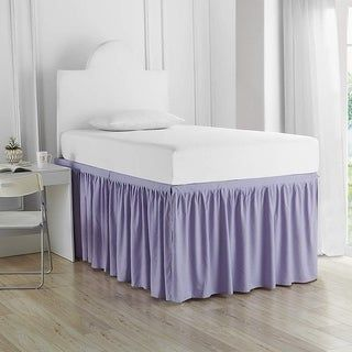 Twin XL 30-inch Drop 3 Panel Bed Skirt (orchid petal - 3 Panels), Purple
