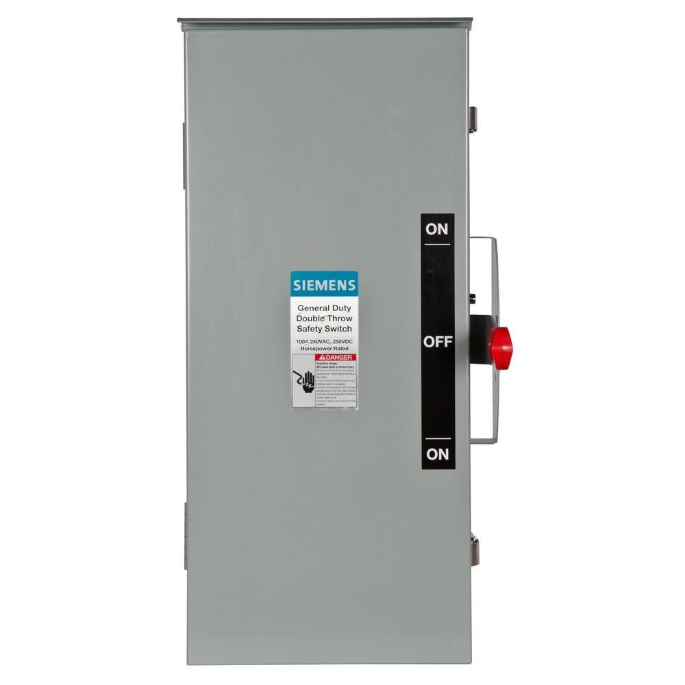 Siemens General Duty Double Throw 100 Amp 240 Volt 2 Pole Outdoor Non Fusible Safety Switch Dtgnf223r Safety Switch Locker Storage Safety