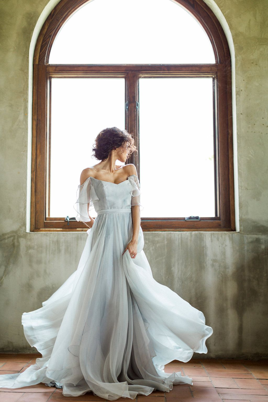 Cloudy Day Wedding Inspiration with a Hand Painted Bridal Gown ...