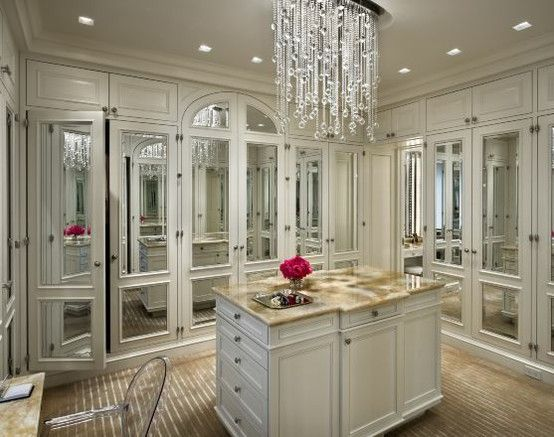 Crazy Gorgeous Mirrored Closet With Island And Chandelier