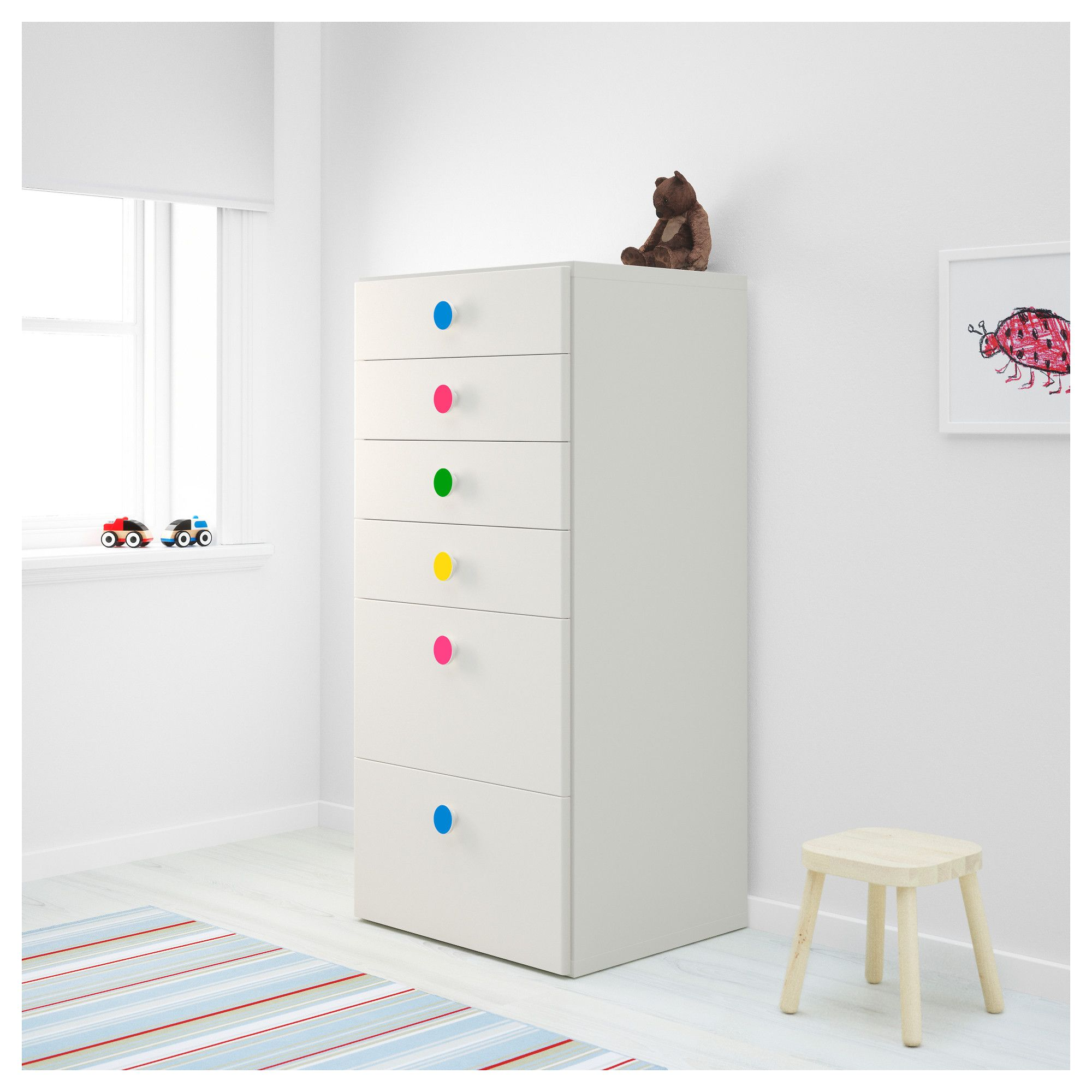 STUVA/FÖLJA Storage combination with drawers White 60x50x128 cm ...