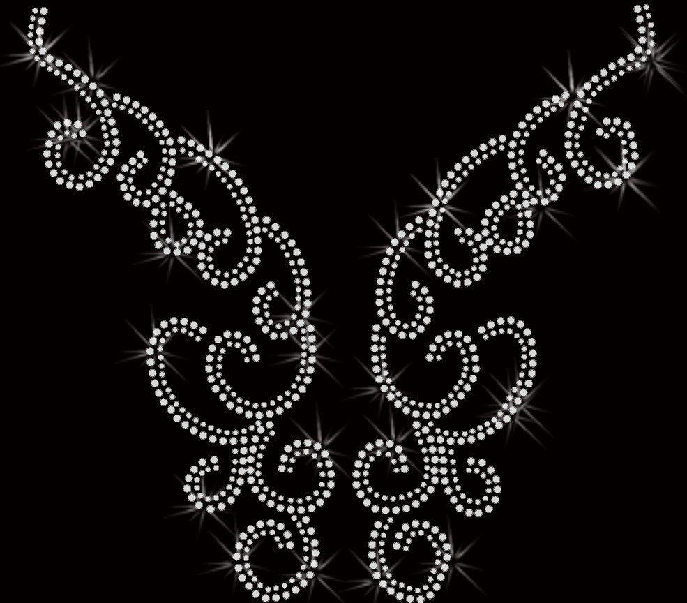 neckline swirl rhinestone Transfer Iron On Applique Bling. $10.00 ...