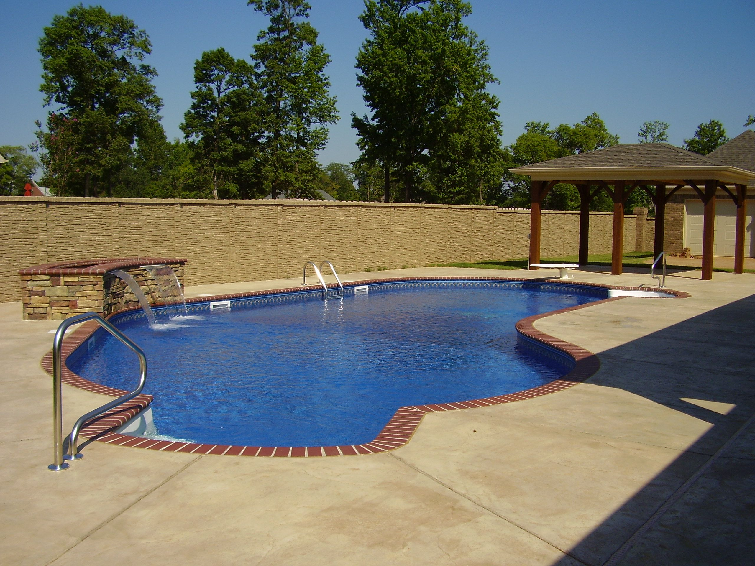 Vinyl Liner Pool With Planter Water Feature Steps Swim