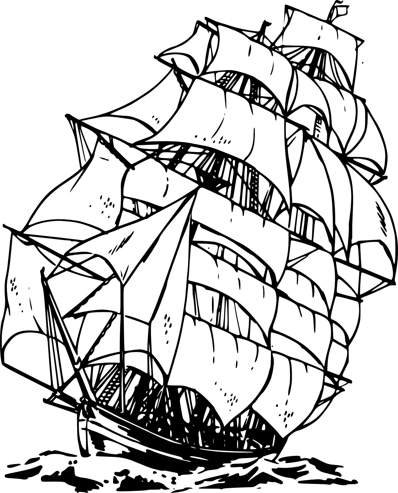 Pirate Ship Clipart Black And White Clipart Panda Free