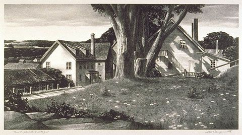 New England Village by Stow Wengenroth  1940 litho