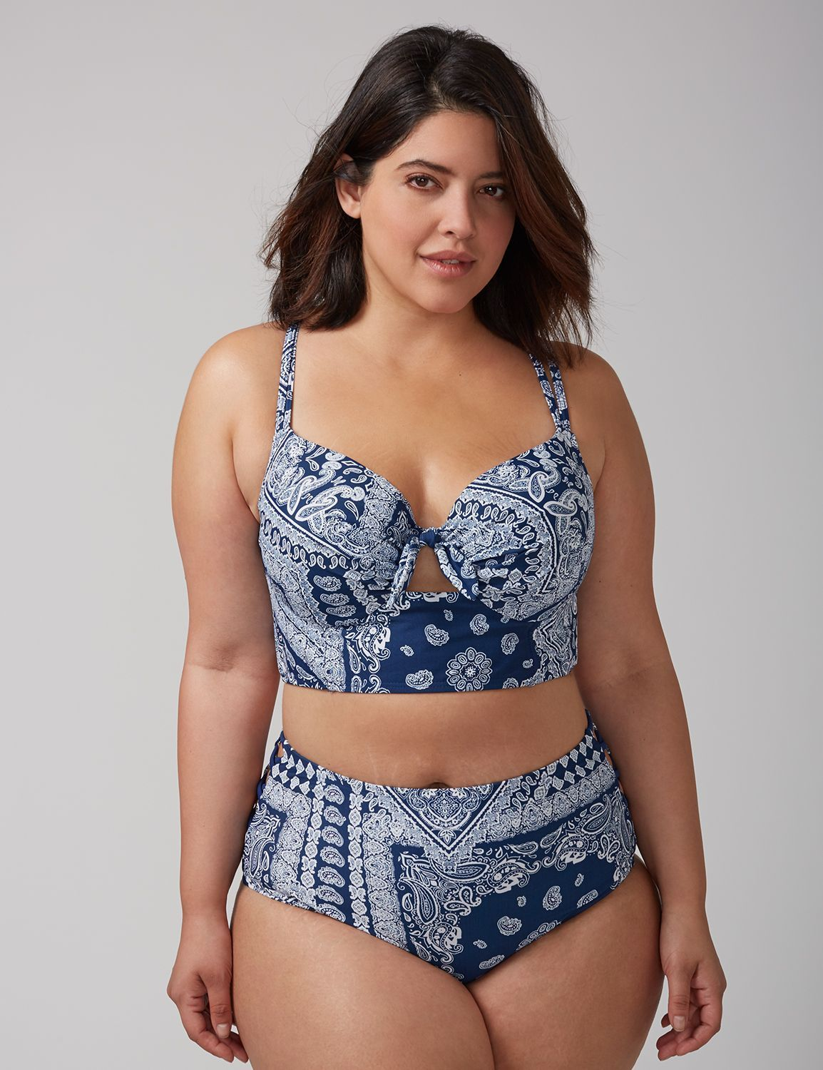 c31640a6905 Plus Size Bikini Swimsuit. Longline Bikini Top with Built-In Balconette Bra