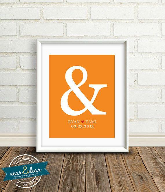 Custom First Anniversary Gifts Ampersand Personalized Wedding Art Print 8x10 Bridal Shower