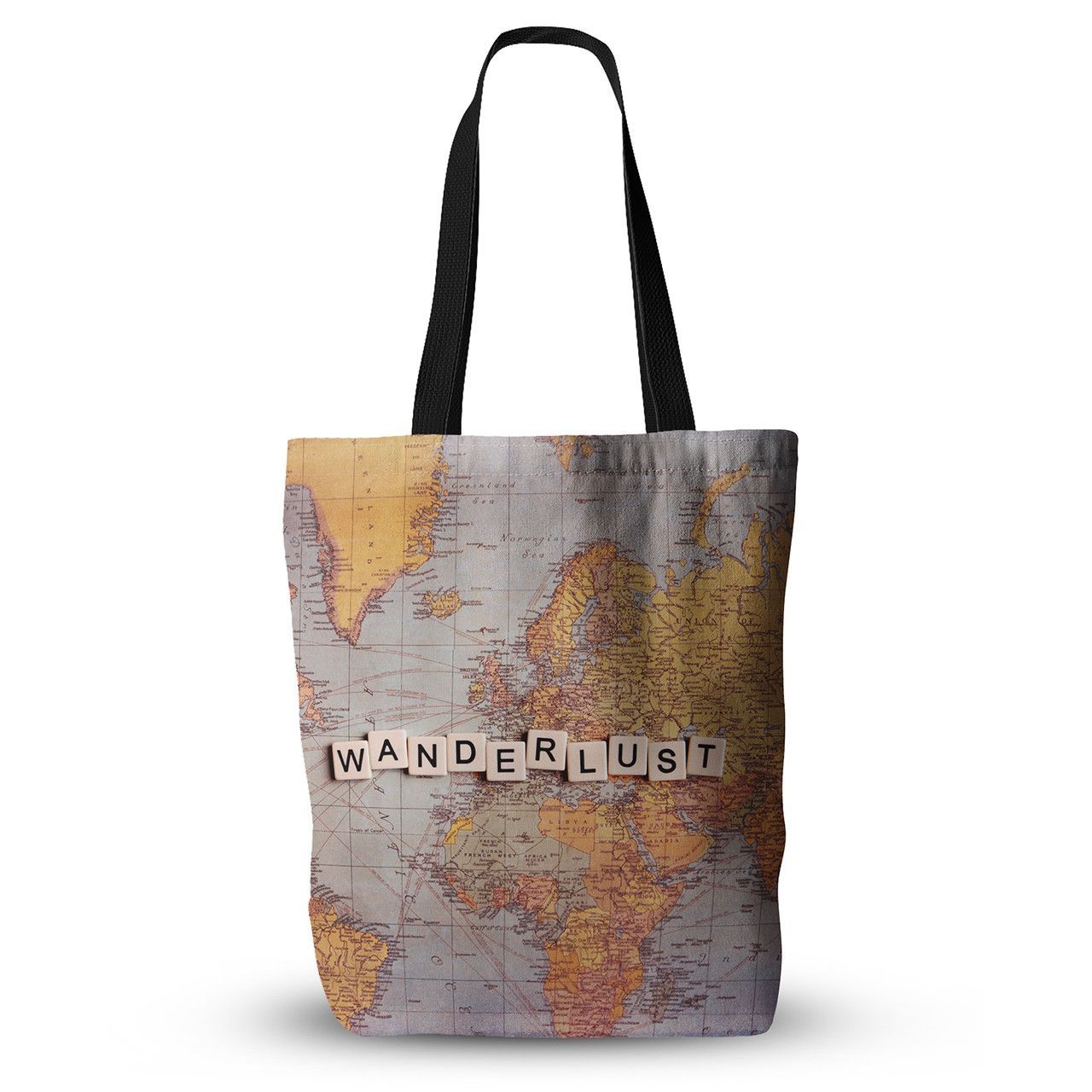 """Sylvia Cook """"Wanderlust Map"""" World Everything Tote Bag from KESS InHouse"""