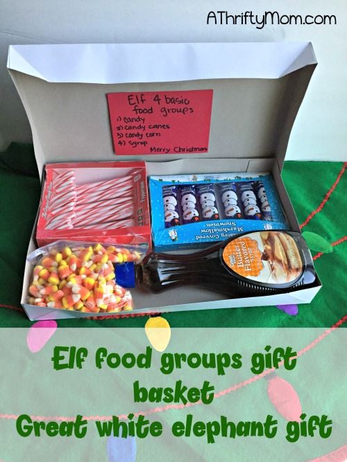 elf gift package 4 food groups elf inspired gifts white elephant gift