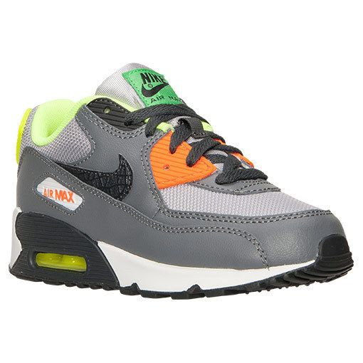 Nike Air Max 90 Preschool Boys Kids Shoes 705500 002 GrayOrangeGreen 2.5  Youth Nike Athletic