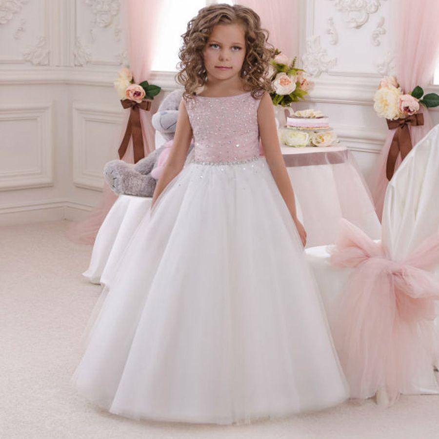 Première Communion blanc fleur fille robe Cap manches longues mariage Pageant demoiselle d/'honneur