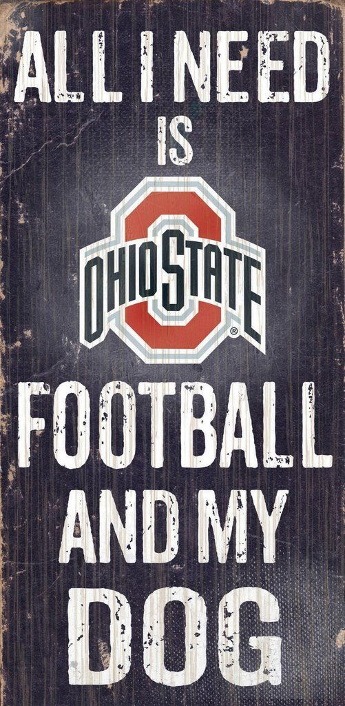 Ohio State Buckeyes Wood Sign - Football and Dog 6\