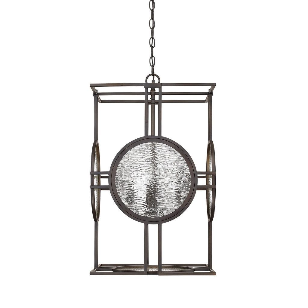 Capital Lighting Alston Collection 4 Light Old Bronze Foyer Pendant Glass