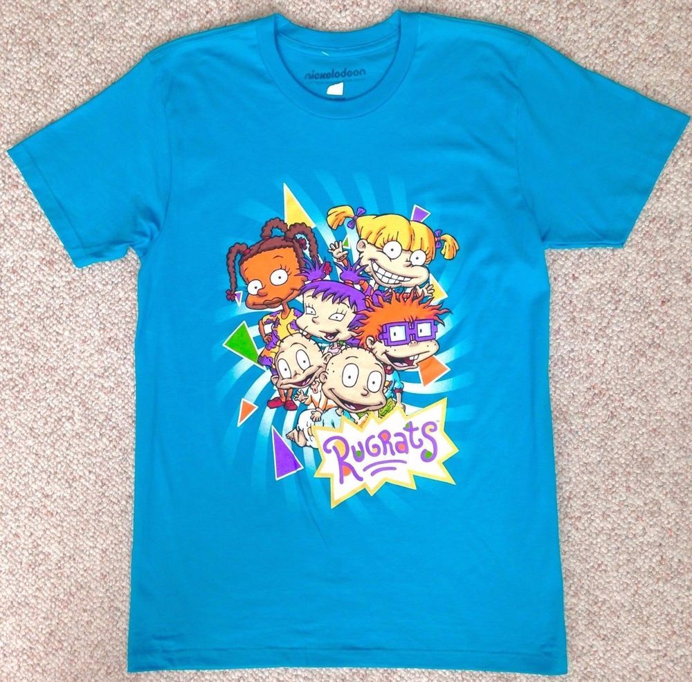 a4033ef1c4b New RUGRATS T-SHIRT Aqua-Blue Cartoon Nickelodeon 90s-Look Retro ADULT SM    MED  Nickelodeon  GraphicTee