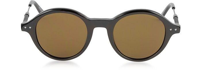 d12a52357695 BOTTEGA VENETA BV0095S 002 BV0107S Black Acetate Round Frame Men s  Sunglasses.  bottegaveneta