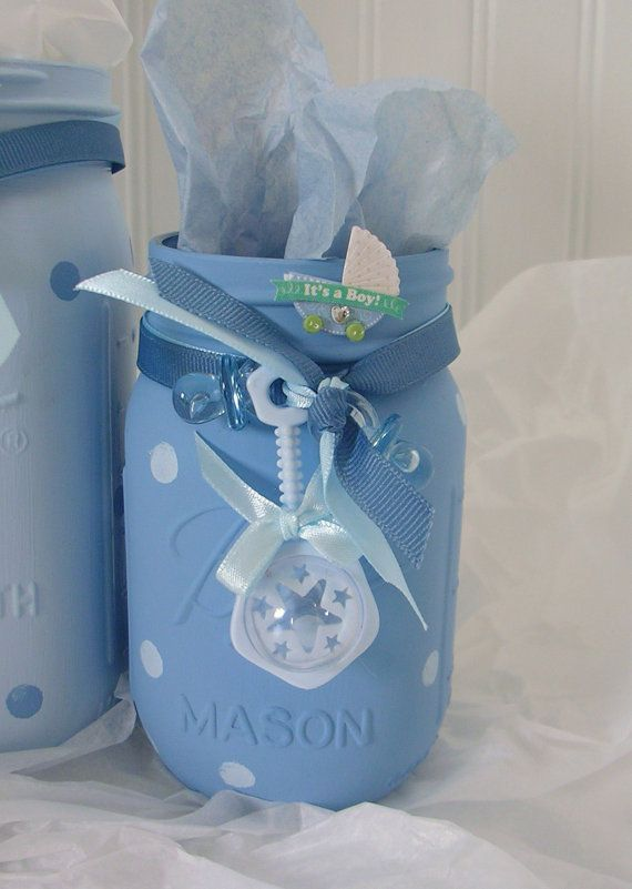 Boy Shower Painted Mason Jars Baby Storage By Monikasboutique