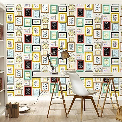 Rasch Picture Photo Frame Pattern Colourful Typography Wallpaper ...